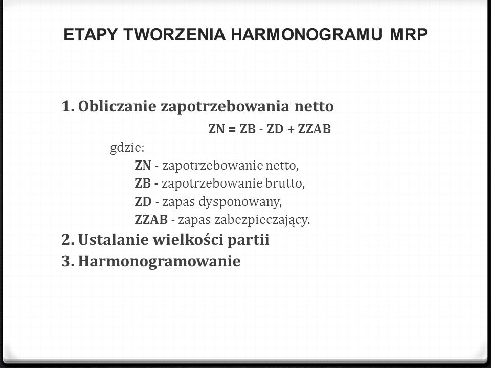 ETAPY TWORZENIA HARMONOGRAMU MRP