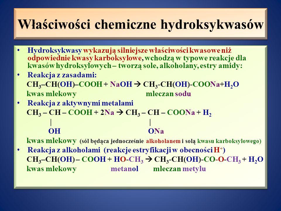 Właściwości chemiczne hydroksykwasów