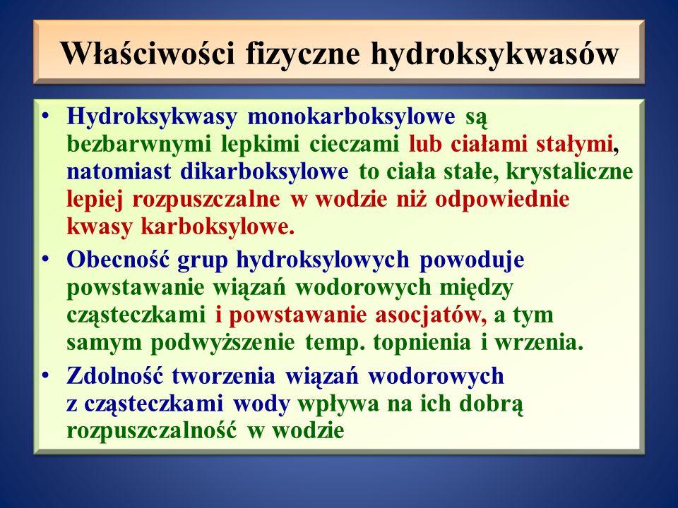 Właściwości fizyczne hydroksykwasów