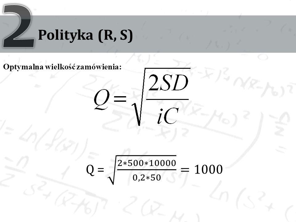 2 Polityka (R, S) Optymalna wielkość zamówienia: Q = 2∗500∗10000 0,2∗50 =1000