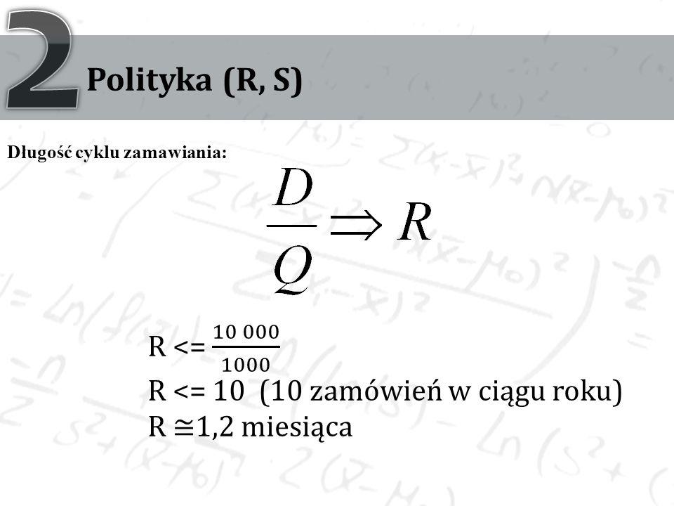 2 Polityka (R, S) Długość cyklu zamawiania: R <= 10 000 1000. R <= 10 (10 zamówień w ciągu roku)