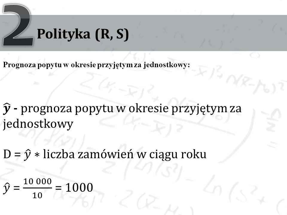 2 Polityka (R, S) Prognoza popytu w okresie przyjętym za jednostkowy: 𝒚 - prognoza popytu w okresie przyjętym za jednostkowy.