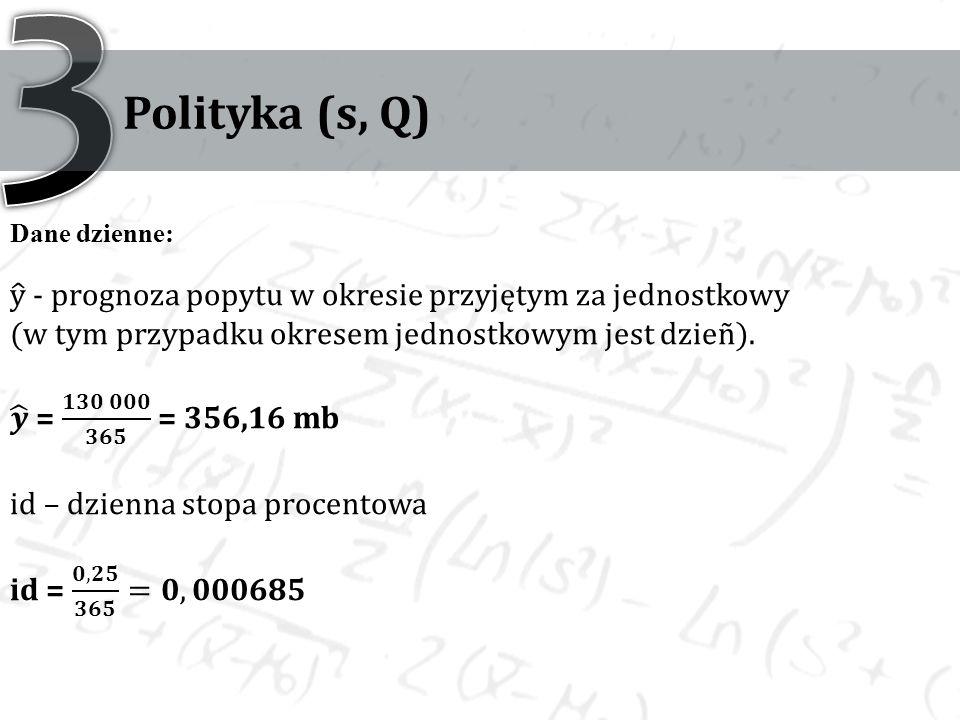 3 Polityka (s, Q) Dane dzienne: y - prognoza popytu w okresie przyjętym za jednostkowy. (w tym przypadku okresem jednostkowym jest dzieñ).