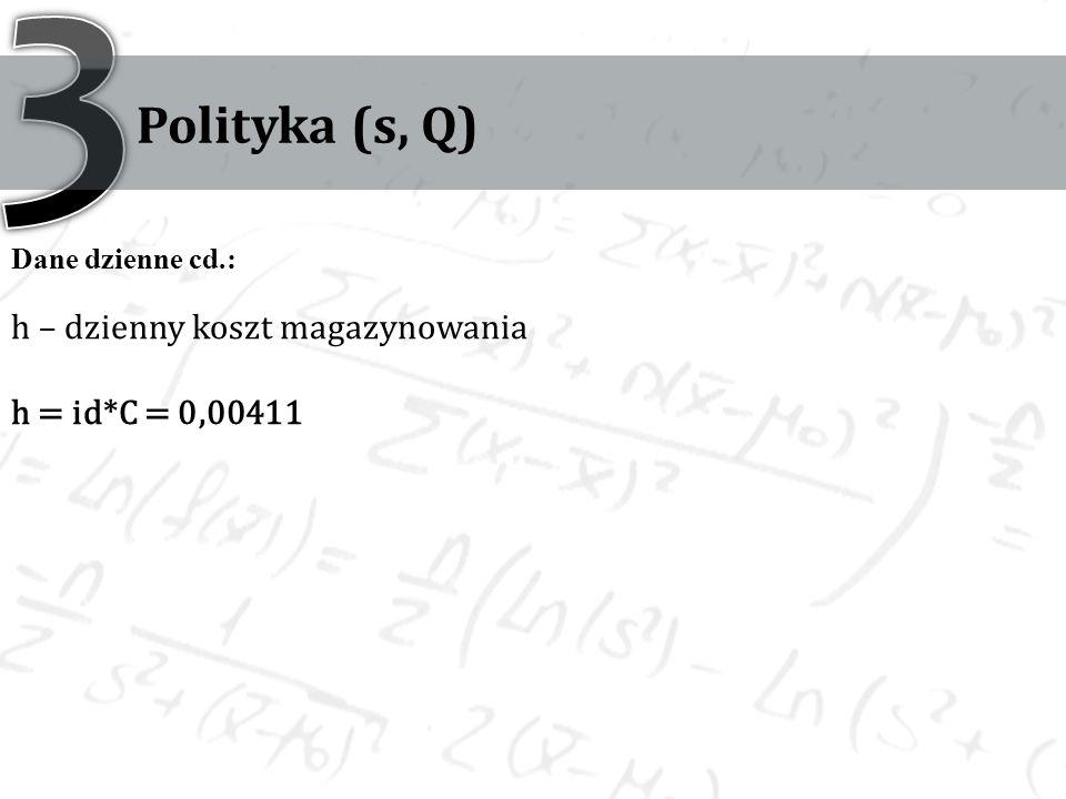 3 Polityka (s, Q) h – dzienny koszt magazynowania h = id*C = 0,00411