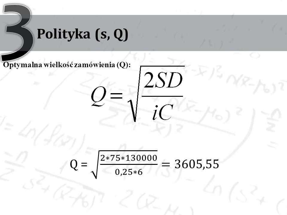 3 Polityka (s, Q) Optymalna wielkość zamówienia (Q): Q = 2∗75∗130000 0,25∗6 =3605,55