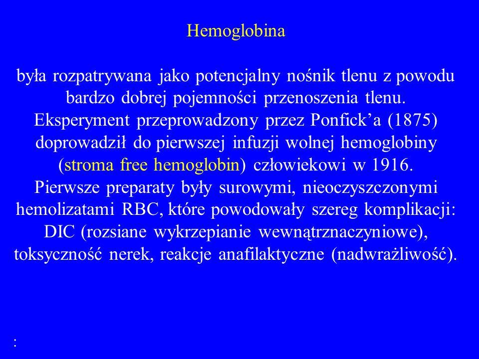 Hemoglobina była rozpatrywana jako potencjalny nośnik tlenu z powodu bardzo dobrej pojemności przenoszenia tlenu.