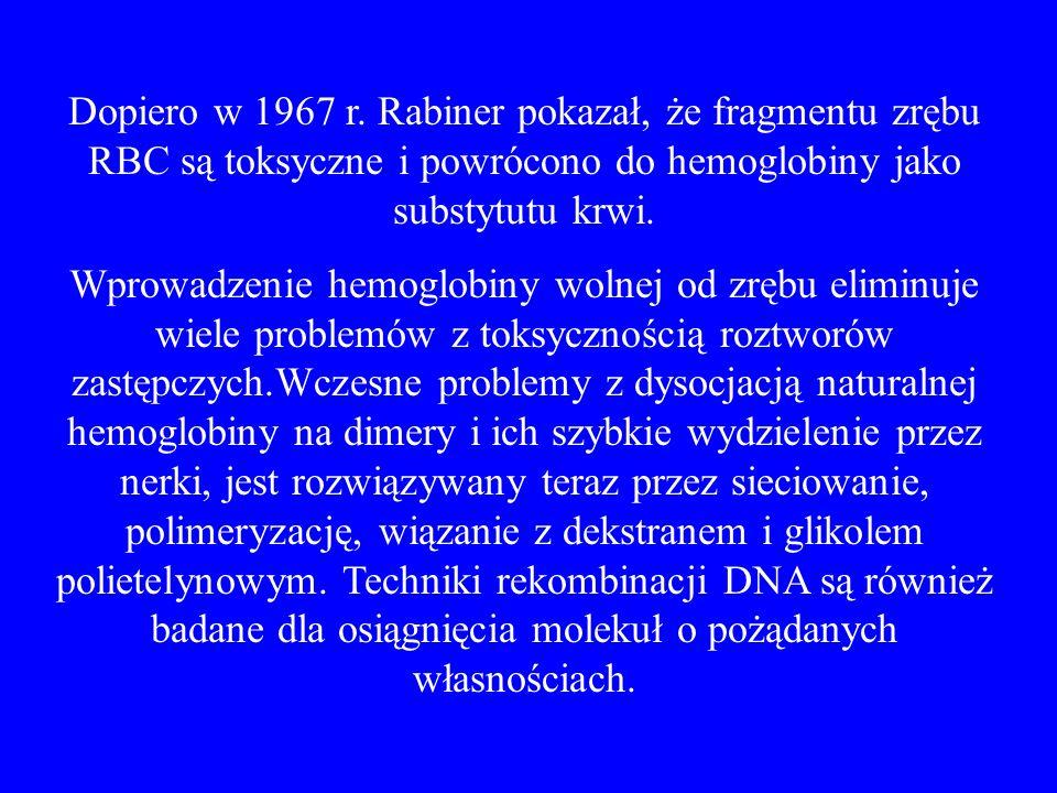 Dopiero w 1967 r. Rabiner pokazał, że fragmentu zrębu RBC są toksyczne i powrócono do hemoglobiny jako substytutu krwi.