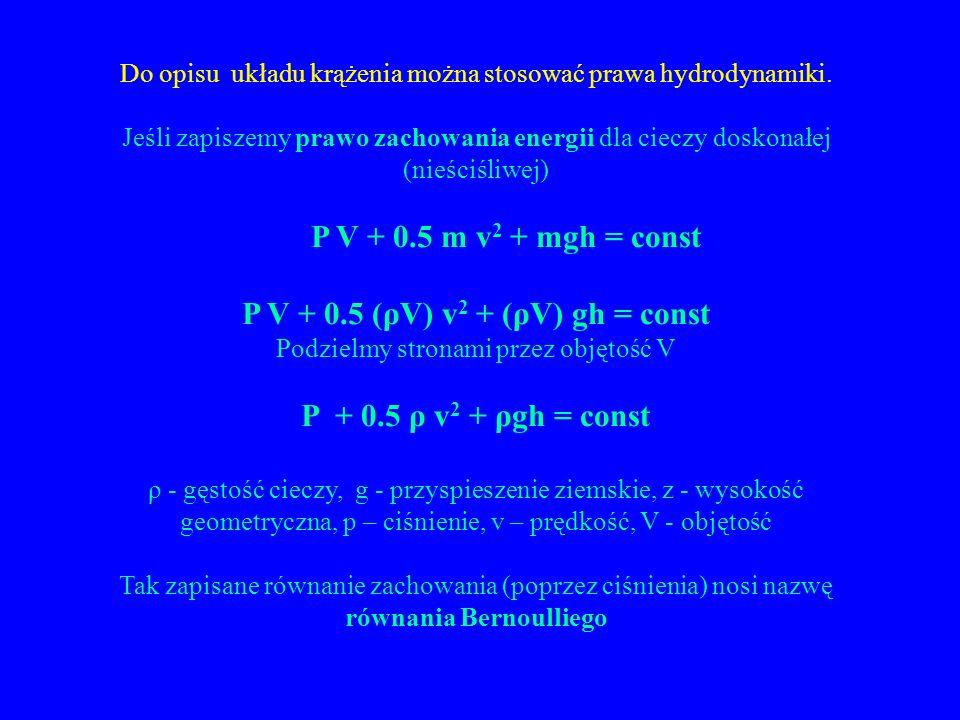 Do opisu układu krążenia można stosować prawa hydrodynamiki.