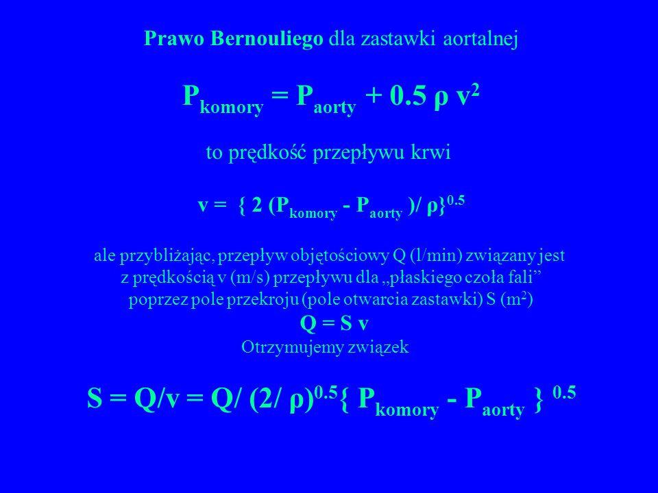 S = Q/v = Q/ (2/ ρ)0.5{ Pkomory - Paorty } 0.5
