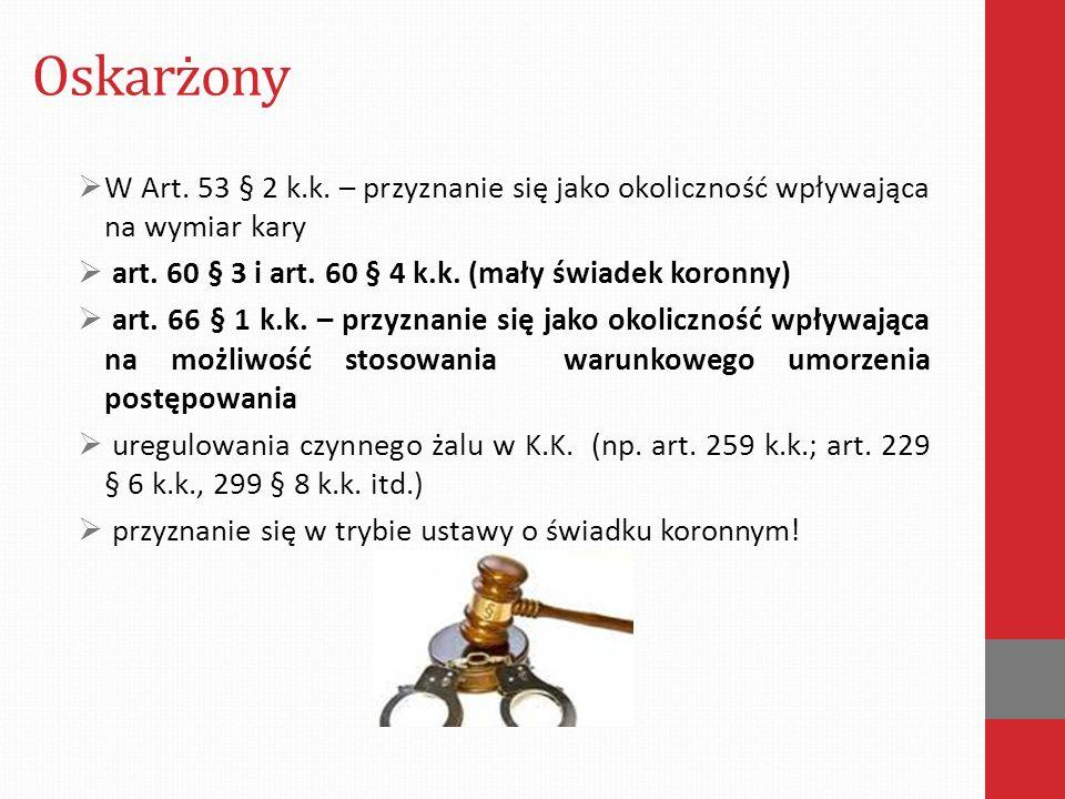 Oskarżony W Art. 53 § 2 k.k. – przyznanie się jako okoliczność wpływająca na wymiar kary. art. 60 § 3 i art. 60 § 4 k.k. (mały świadek koronny)