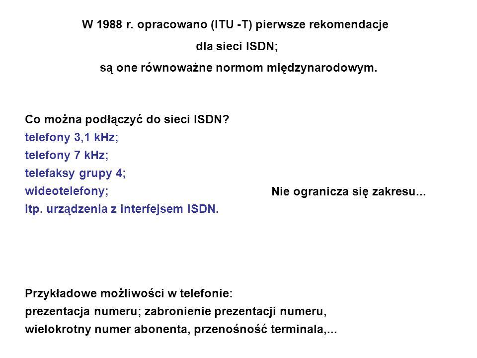 W 1988 r. opracowano (ITU -T) pierwsze rekomendacje dla sieci ISDN;