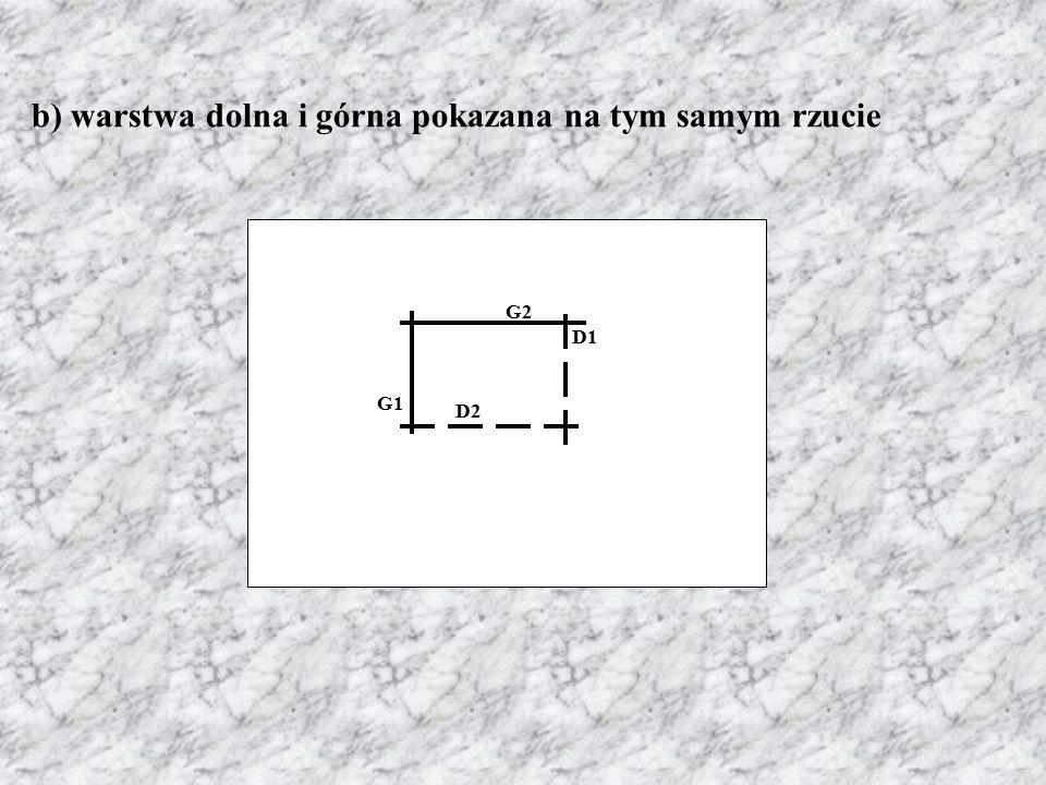 b) warstwa dolna i górna pokazana na tym samym rzucie