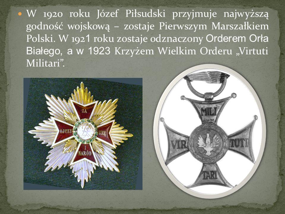 W 1920 roku Józef Piłsudski przyjmuje najwyższą godność wojskową – zostaje Pierwszym Marszałkiem Polski.