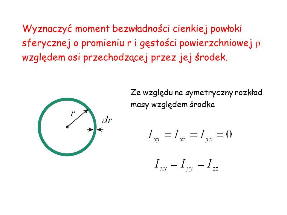 Wyznaczyć moment bezwładności cienkiej powłoki sferycznej o promieniu r i gęstości powierzchniowej  względem osi przechodzącej przez jej środek.