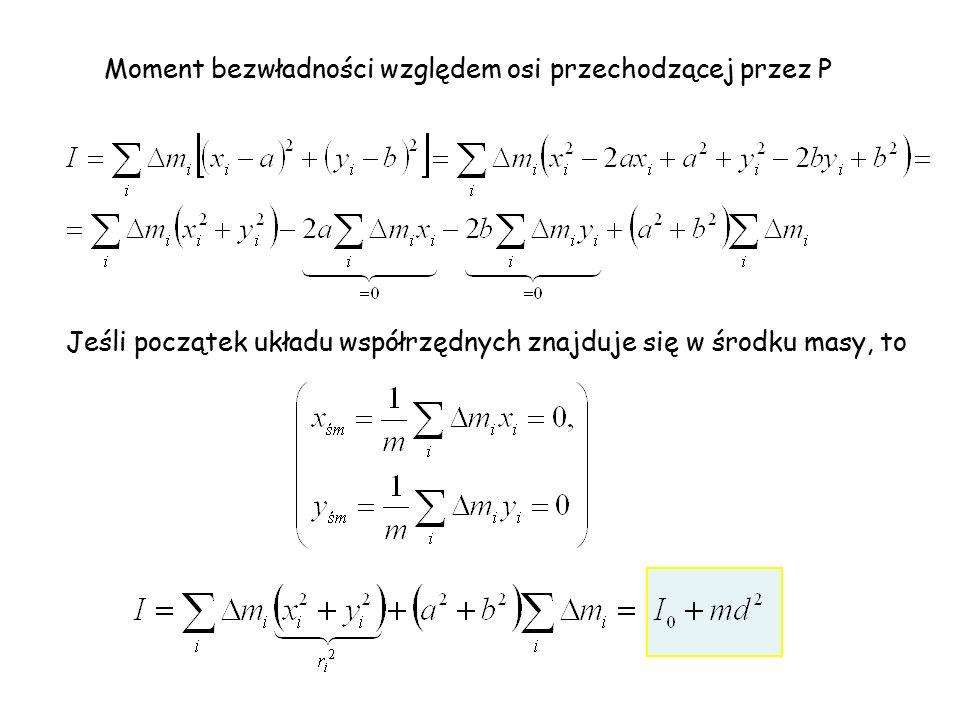 Moment bezwładności względem osi przechodzącej przez P