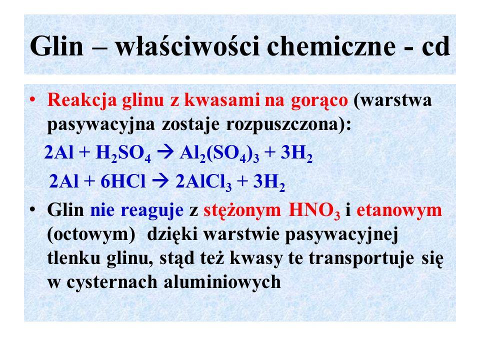 Glin – właściwości chemiczne - cd