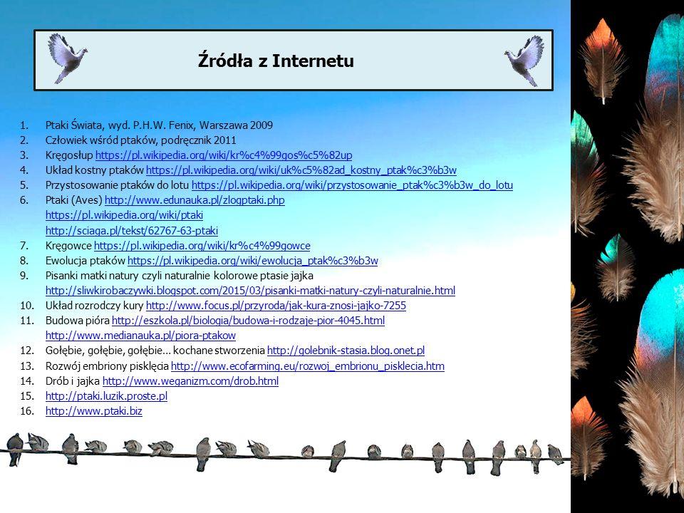 Źródła z Internetu Ptaki Świata, wyd. P.H.W. Fenix, Warszawa 2009