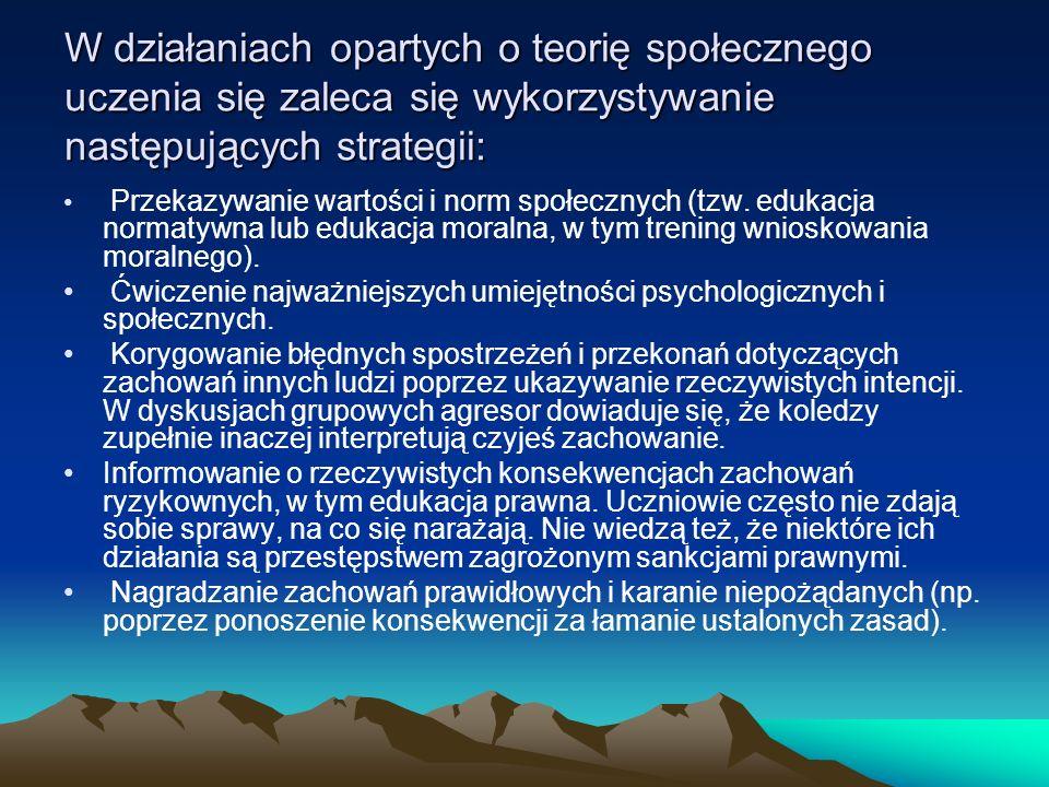 W działaniach opartych o teorię społecznego uczenia się zaleca się wykorzystywanie następujących strategii: