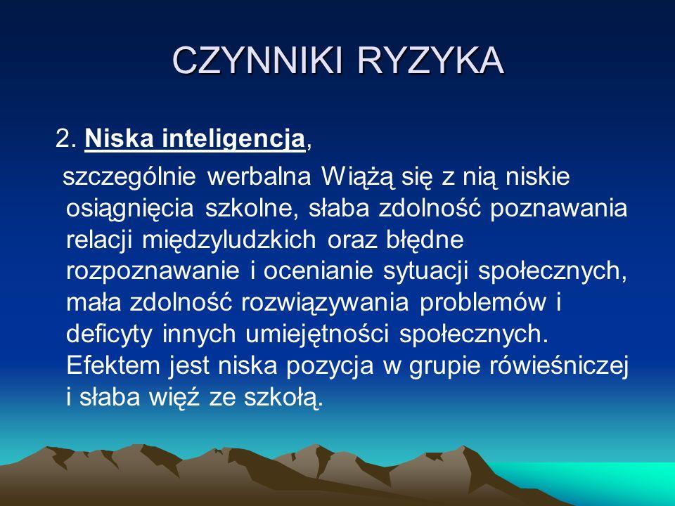 CZYNNIKI RYZYKA 2. Niska inteligencja,