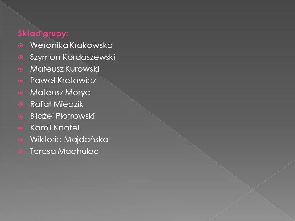 Skład grupy: Weronika Krakowska. Szymon Kordaszewski. Mateusz Kurowski. Paweł Kretowicz. Mateusz Moryc.