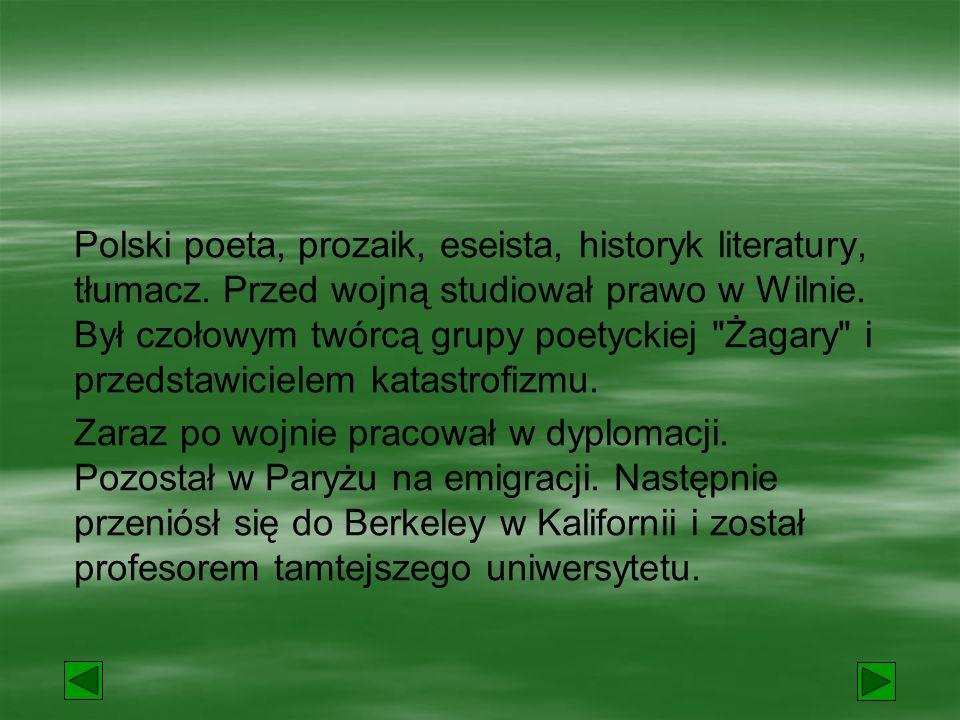 Polski poeta, prozaik, eseista, historyk literatury, tłumacz