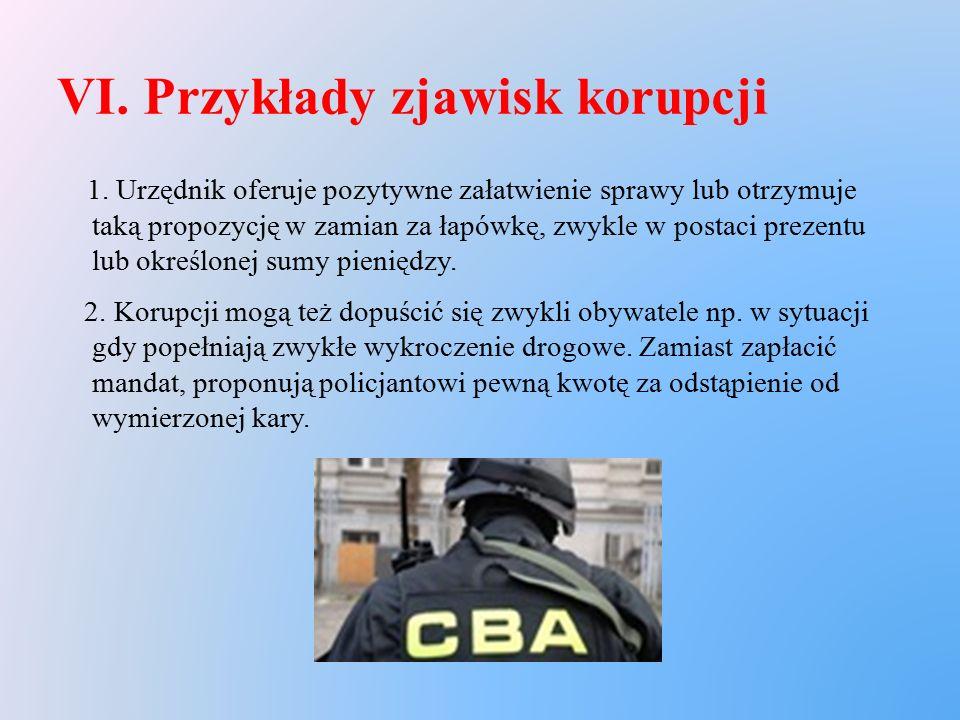 VI. Przykłady zjawisk korupcji