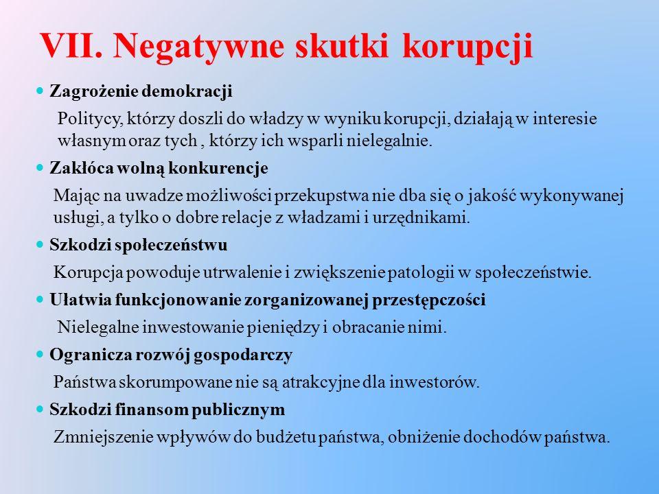 VII. Negatywne skutki korupcji