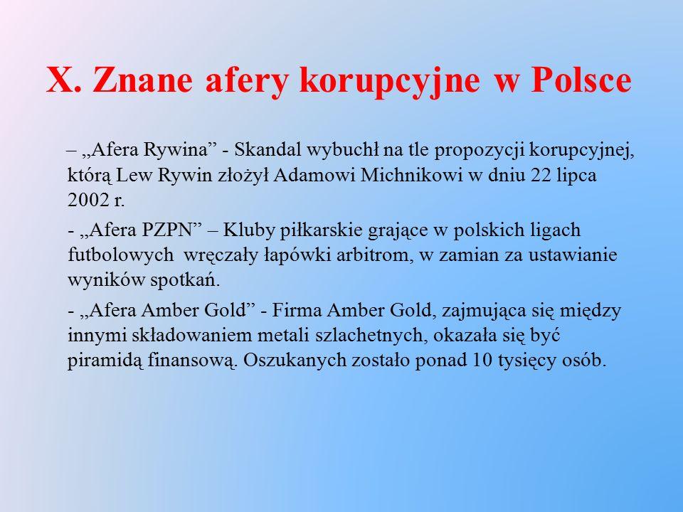 X. Znane afery korupcyjne w Polsce