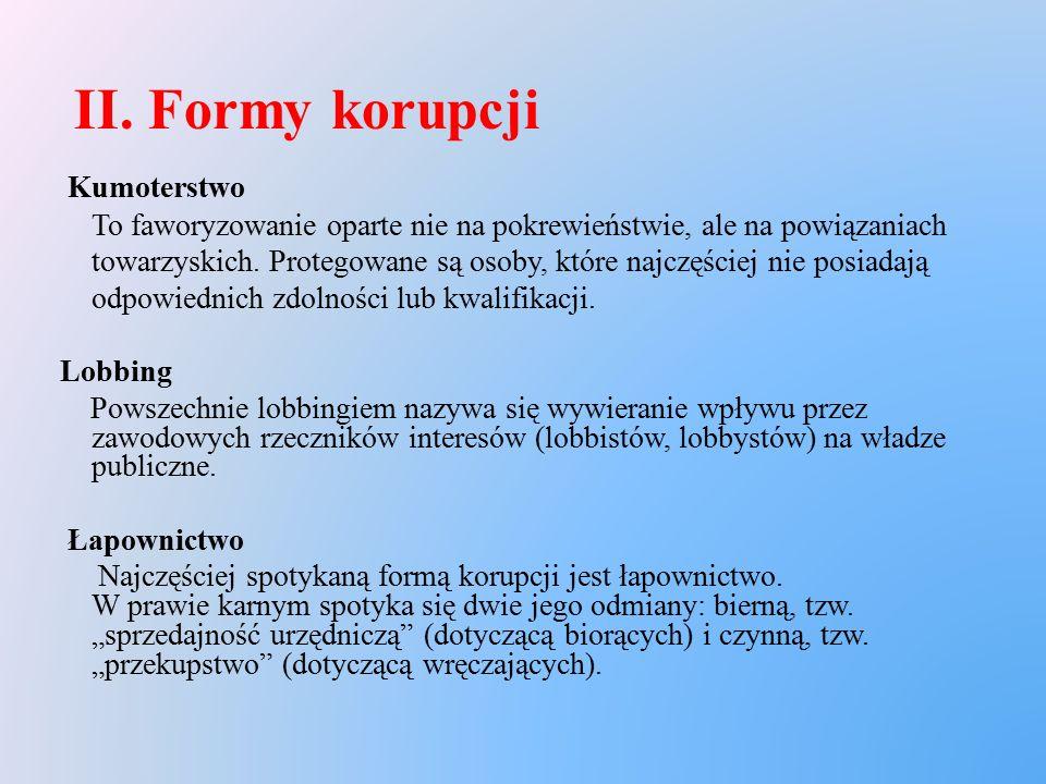 II. Formy korupcji