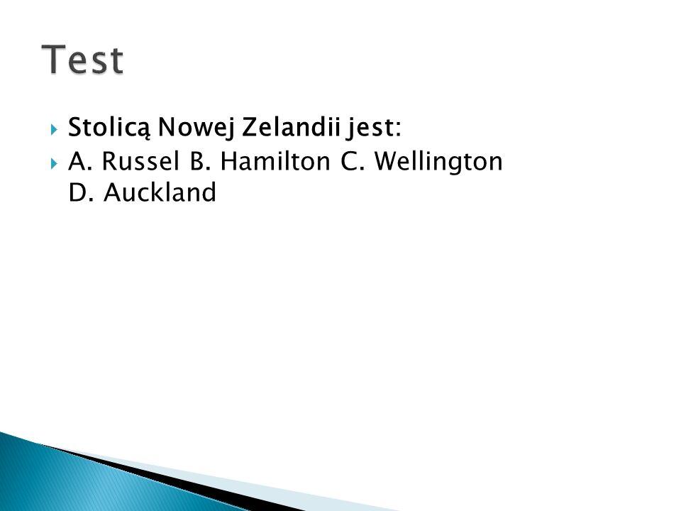 Test Stolicą Nowej Zelandii jest: