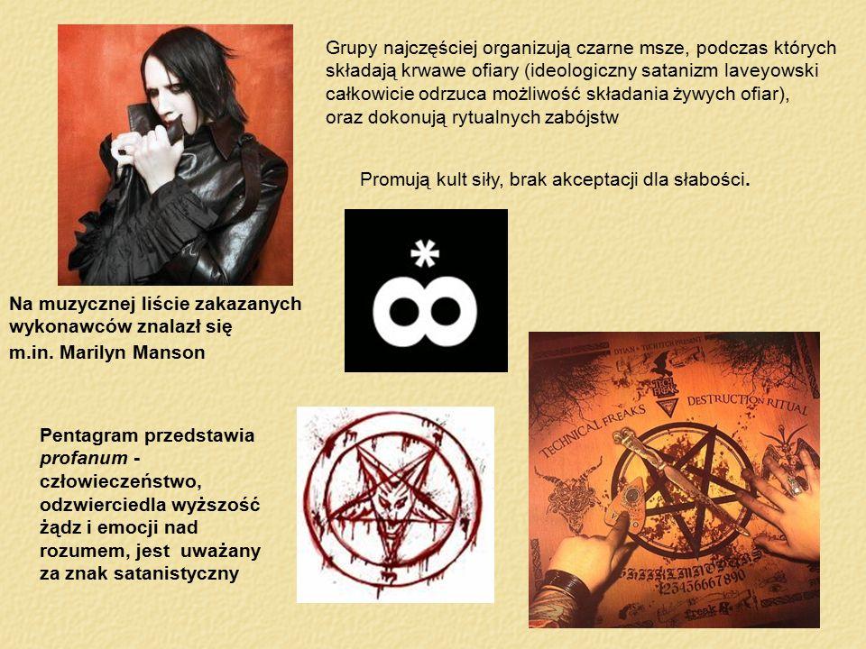 Grupy najczęściej organizują czarne msze, podczas których składają krwawe ofiary (ideologiczny satanizm laveyowski całkowicie odrzuca możliwość składania żywych ofiar),