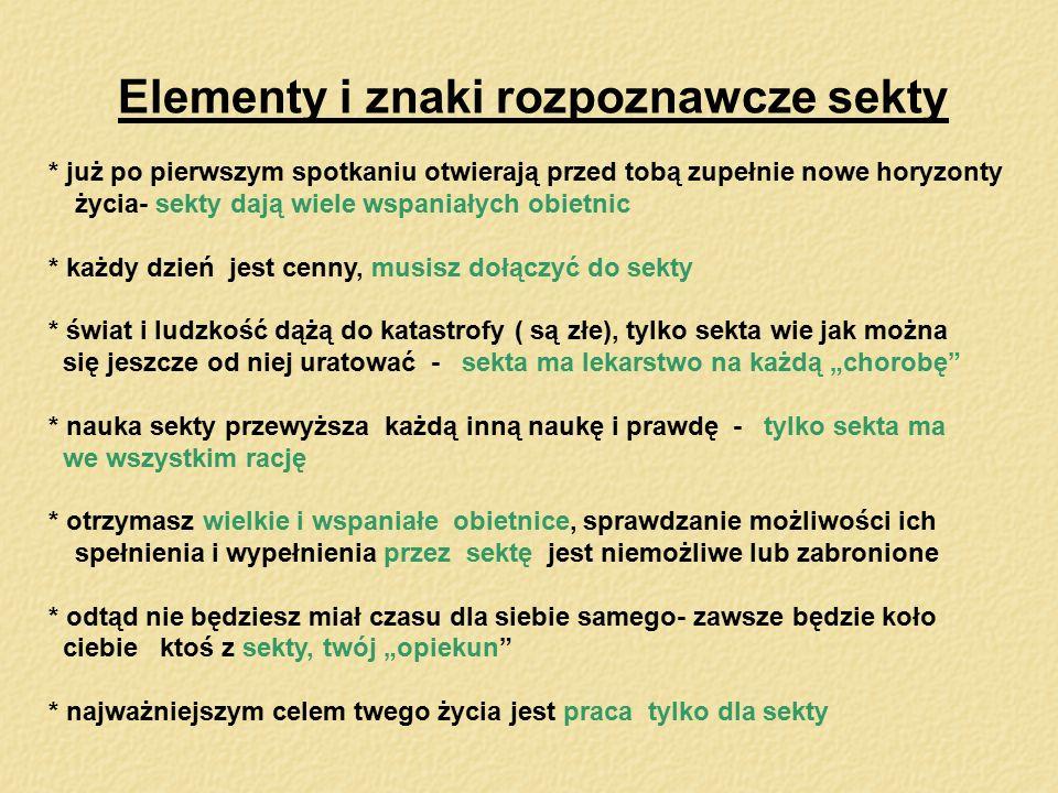 Elementy i znaki rozpoznawcze sekty