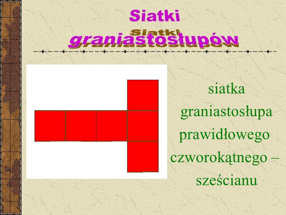 siatka graniastosłupa prawidłowego czworokątnego – sześcianu Siatki