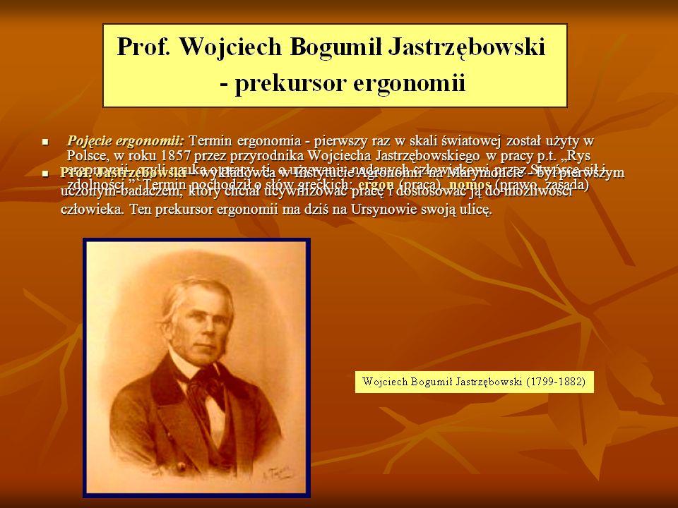 """Pojęcie ergonomii: Termin ergonomia - pierwszy raz w skali światowej został użyty w Polsce, w roku 1857 przez przyrodnika Wojciecha Jastrzębowskiego w pracy p.t. """"Rys ergonomii, czyli nauka o pracy, tj. o używaniu nadanych człowiekowi przez Stwórcę sił i zdolności. . Termin pochodził o słów greckich: ergon (praca), nomos (prawo, zasada)"""
