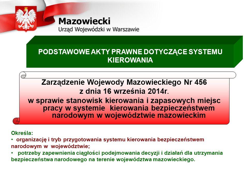 Zarządzenie Wojewody Mazowieckiego Nr 456 z dnia 16 września 2014r.