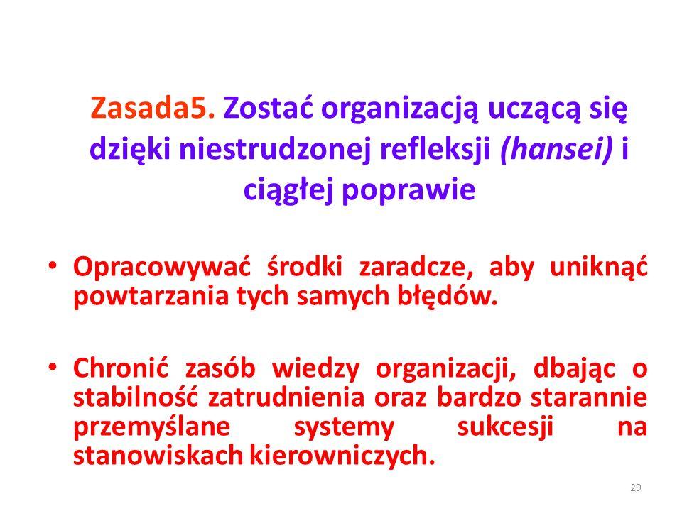 Zasada5. Zostać organizacją uczącą się dzięki niestrudzonej refleksji (hansei) i ciągłej poprawie