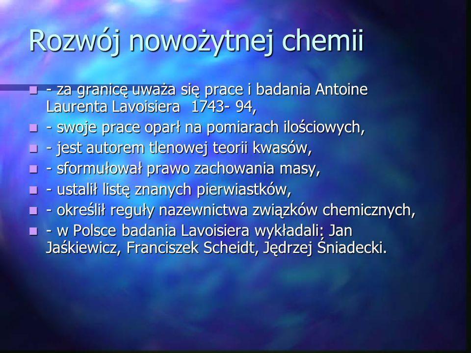Rozwój nowożytnej chemii