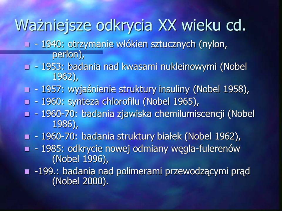 Ważniejsze odkrycia XX wieku cd.