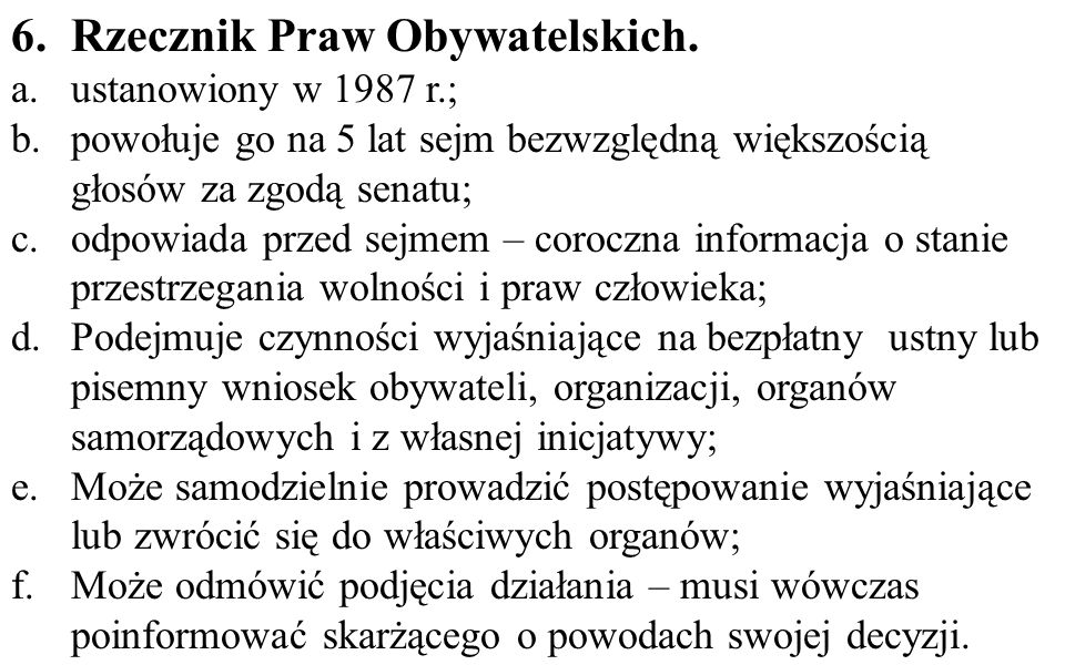 6. Rzecznik Praw Obywatelskich.