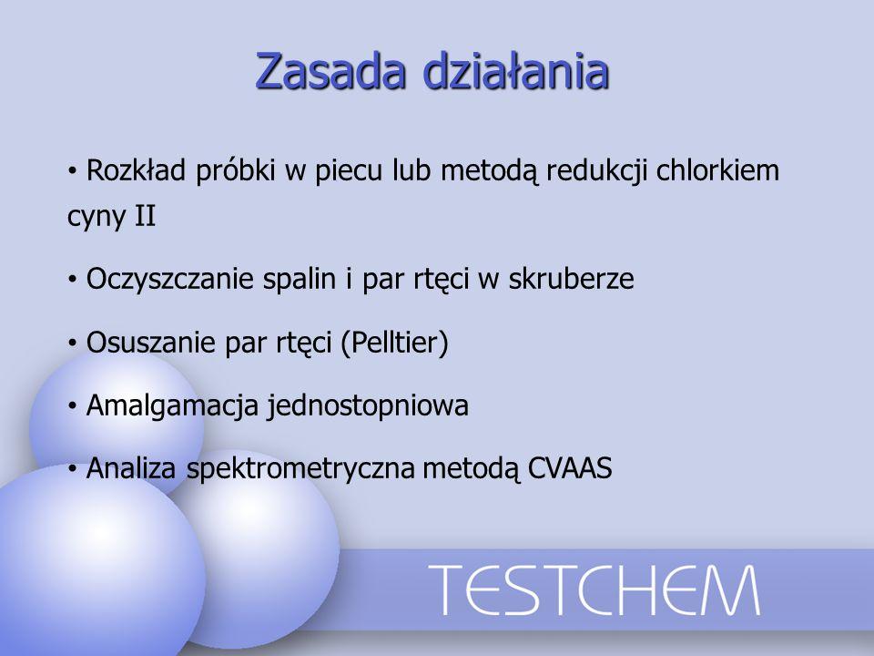 Zasada działania Rozkład próbki w piecu lub metodą redukcji chlorkiem cyny II. Oczyszczanie spalin i par rtęci w skruberze.
