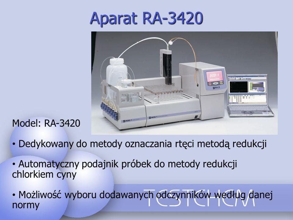Aparat RA-3420 Model: RA-3420. Dedykowany do metody oznaczania rtęci metodą redukcji.