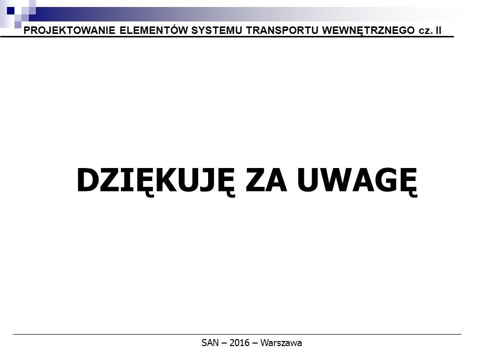PROJEKTOWANIE ELEMENTÓW SYSTEMU TRANSPORTU WEWNĘTRZNEGO cz. II