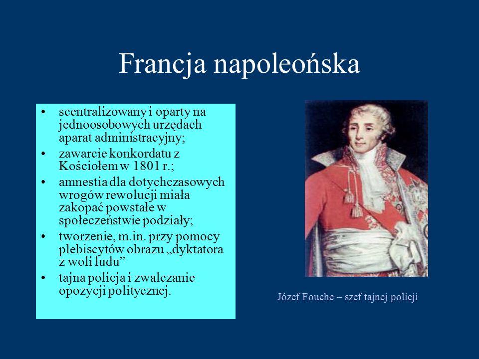 Francja napoleońska scentralizowany i oparty na jednoosobowych urzędach aparat administracyjny; zawarcie konkordatu z Kościołem w 1801 r.;