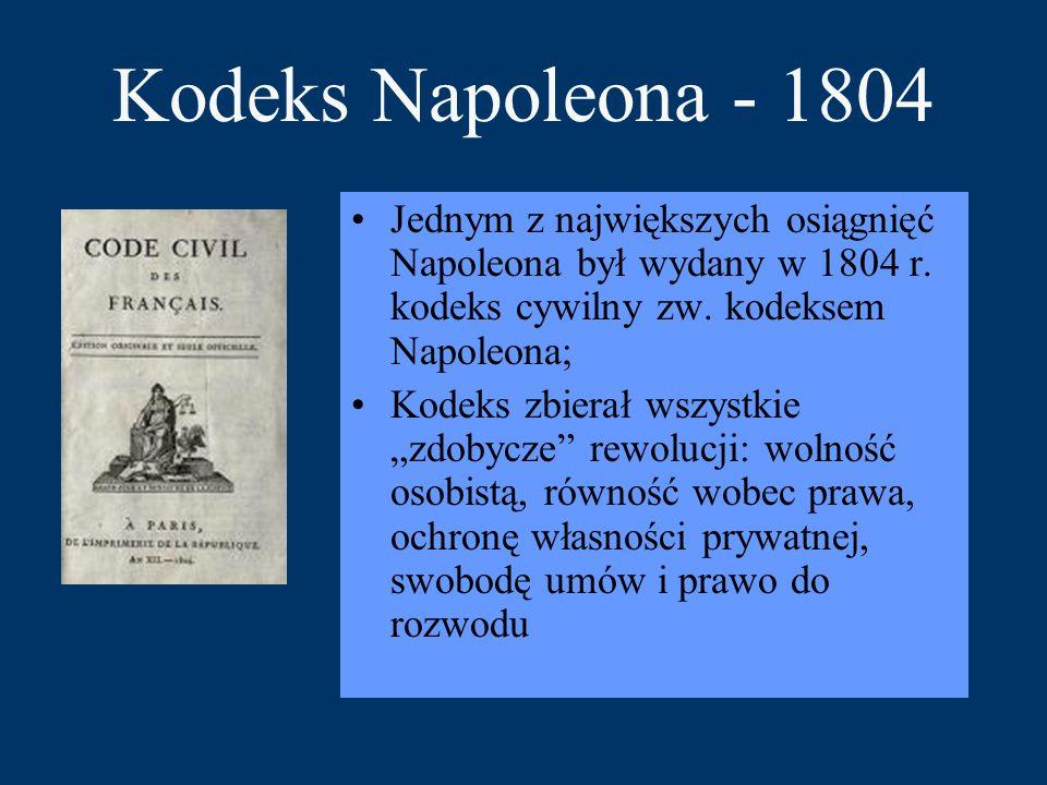 Kodeks Napoleona - 1804 Jednym z największych osiągnięć Napoleona był wydany w 1804 r. kodeks cywilny zw. kodeksem Napoleona;