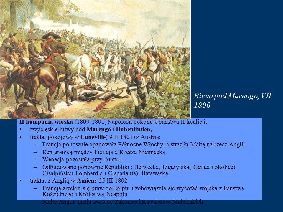 Bitwa pod Marengo, VII 1800 II kampania włoska (1800-1801) Napoleon pokonuje państwa II koalicji; zwycięskie bitwy pod Marengo i Hohenlinden,