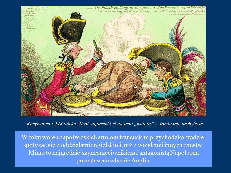"""Karykatura z XIX wieku; Król angielski i Napoleon """"walczą o dominację na świecie"""