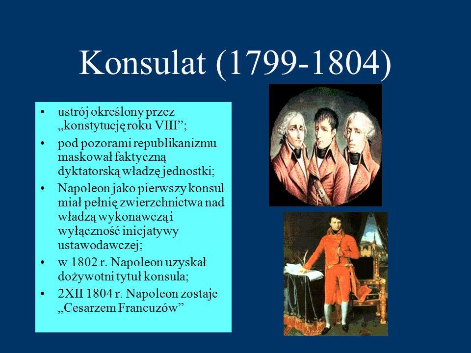 """Konsulat (1799-1804) ustrój określony przez """"konstytucję roku VIII ;"""