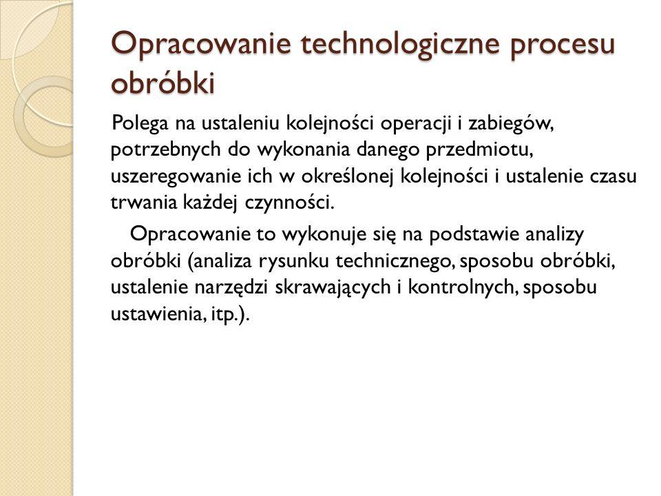 Opracowanie technologiczne procesu obróbki