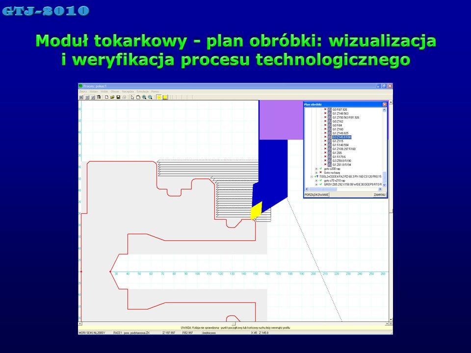 Moduł tokarkowy - plan obróbki: wizualizacja i weryfikacja procesu technologicznego