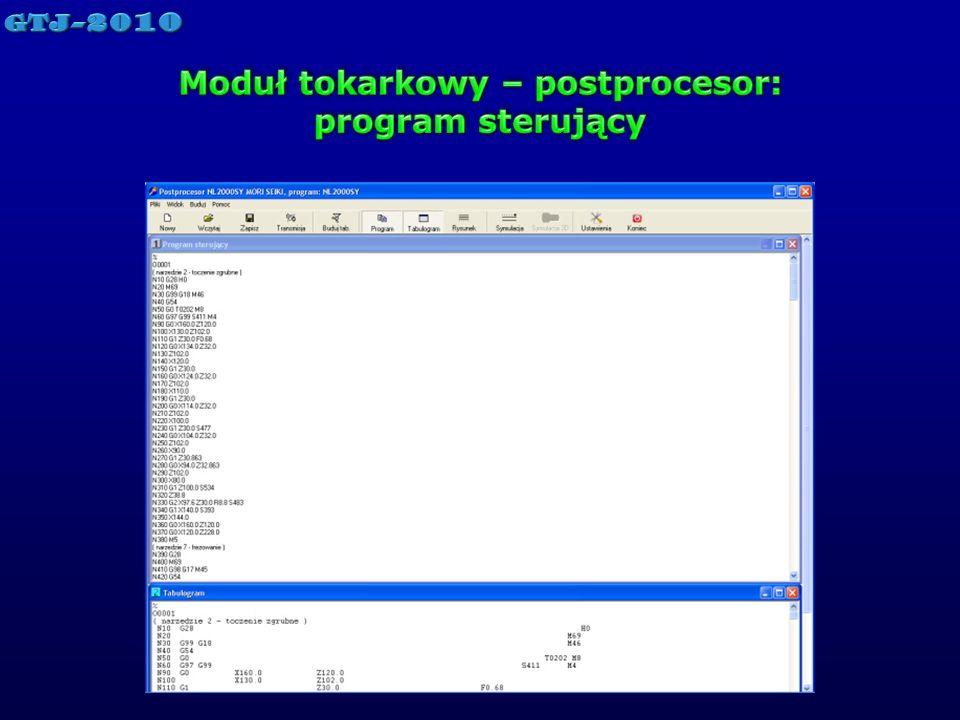 Moduł tokarkowy – postprocesor: program sterujący